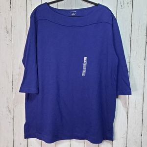 New! Lands' End Blue Knit ¾ Sleeve Tunic Size Lrg
